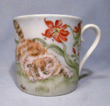 Hand Painted 1965 Signed Cat Kitten w/ Snail Porcelain Cup - Personalized Keith