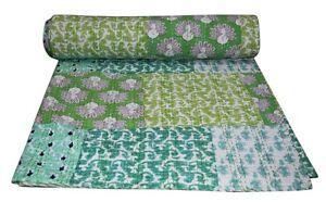 Indian Kantha Quilt Throw Bedspread Patchwork Queen Design Handmade Pure cotton
