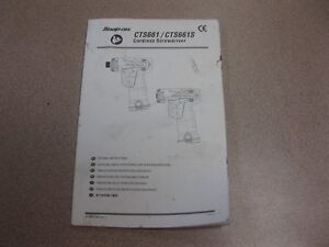 INSTRUCTION BOOK FOR A Snap-on CTS661 Cordless Screwdriver