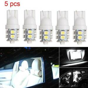5pc  White T10  License Plate Interior 10SMD LED Light Bulbs 194 168 912 921 W5W