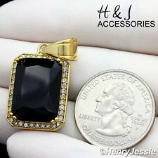 MEN's Stainless Steel ICY CZ Black Onyx Gold Charm Pendant*AGP98