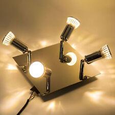 Lampada da soffitto lampadario quadrato 4 faretti a LED in nichel satinato nuovo