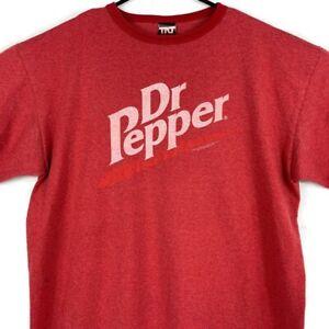 Vintage Dr Pepper Mens T Shirt Large L Red Ringer Tee Short Sleeve Spellout Soda