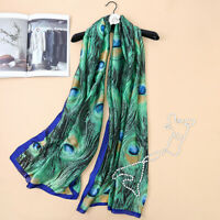 Mulberry Silk Women's Soft Peacock Long Scarf Wrap Shawl Towel Scarves Beach