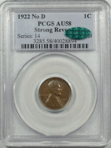 1922 NO D LINCOLN CENT - STRONG REVERSE - PCGS AU-58 PERFECT & WHOLESOME! CAC!