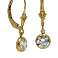 SCHLICHTE ELEGANZ ● weiße klare 6mm Zirkonia Brisuren Ohrringe ygf 14k Gold 585