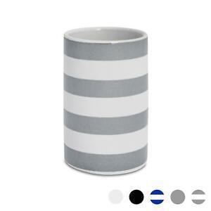 Bathroom Toothbrush Holder Tumbler Glazed Ceramic Porcelain Cup, Grey Stripe