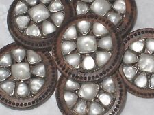 CHANEL GLASS 5 SILVER METAL CC LOGO FRONT brown  WOODSY  BUTTONS 26 MM NEW lot 5