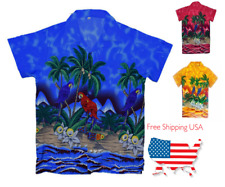 Hawaiian Mens shirt beach coconut tree print party vacation tropical casual