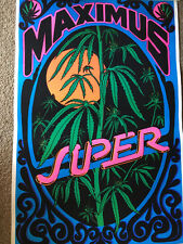 Super Maximus True Vintage Marijuana Black VELVET Poster Early 70s