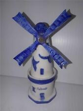 "Antique Delft Blue Windmill Ostende 6"" Tall"