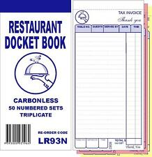 100 x Restaurant Docket Book - Triplicate Carbonless WITHOUT WORD DRINKS