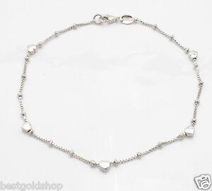 """Platinum Clad 3D Heart Anklet Ankle Bracelet Sterling Silver 925 All Sizes 9-11"""""""
