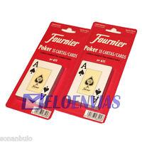 Pack 2x CARTAS BARAJA POKER FOURNIER Nº 611 ORIGINAL 55 NAIPES