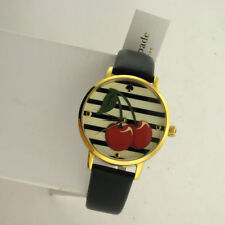 Kate Spade New York Womens KSW1343 Metro Cherry Gold Tone SS Leather Band Watch