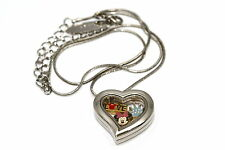 DISNEY HEART LOCKET SILVER NECKLACE FLOATING MINNIE MOUSE LOVE CROWN CHARM