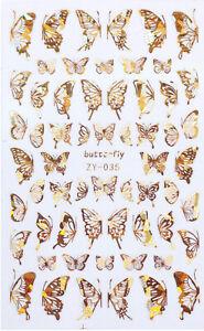 Holo Nagel Sticker Schmetterling Butterfly Nailwrap Nageldesign Nailart Gold