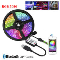 1m-5m 5050 RGB Stripe LED strip USB bar TV band Smart APP controller Back Light