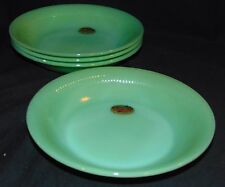 "4 Fire King JANE RAY JADEITE *7 1/2"" FLAT SOUP BOWLS* ORIGINAL STICKERS*"