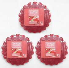 3 Yankee Candle FROSTED CINNAMON Red Wax Tarts Mini Small Candle apprx. 8 hrs ea