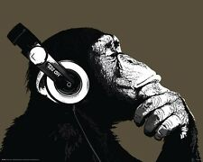 Poster The Chimp Affe Äffchen Kopfhörer Musik Music Popmusic