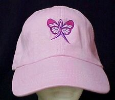 Pink Ribbon Butterfly Baseball Hat Breast Cancer Awareness Embroidered Cap New