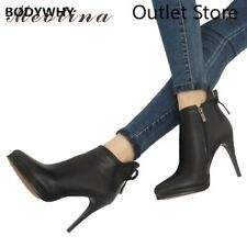 Women Leather Boots Shoes Platform High Heel Bow Leather Ankle Boots Sexy