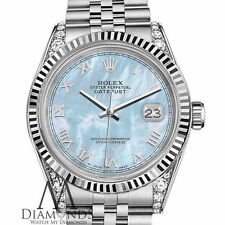 18KWG Rolex 36mm Datejust Baby Blue MOP Mother Of Pearl Roman Numeral SS Watch