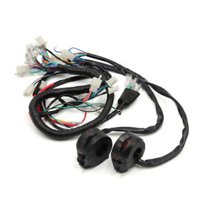 Motorcycle Electrical Main Wire Harness w Handlebar Switch Kit for CG125