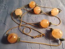 "Vintage Honey/Amber  Colored Swirl Bead & Green Turq. 35"" Necklace"