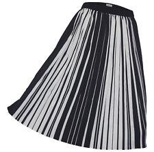 ANISTON Rock Gr. 40 schwarz weiß gestreift Plissee Faltenrock knielang
