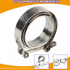 "Stainless Steel 1pcs For Turbo Exhaust Downpipes 2.5"" V-Band Flange & Clamp Kit"