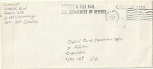 1992 USA oversize cover sent from USArmy Germany Schwetzinger to St.Aldates Oxon