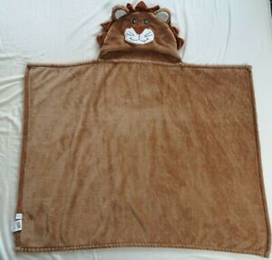 """Brown Lenny Lion Hooded Decorative Kid's Throw Size 30""""x40"""" Good Used Condition"""