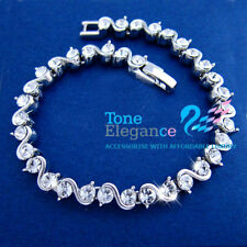 9ct 9k white gold gf solid tennis Bracelet bangle made with swarovski crystal