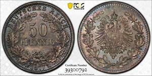Germany 1877-G 50 Pfennig, KM-8, PCGS MS66, toned