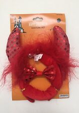 3 Piece Red Devil Headband Horn Ears,Tail, Sequin Bow Tie Halloween Costume New