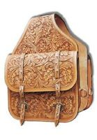 Western Natural Leather Hand Carved Saddle Bag with Brass Buckles