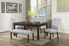 Modern Design Dining Table Chair Bench & High Back Bench 5p Dining Set Furniture