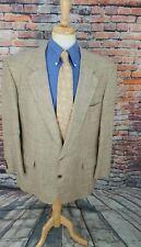 Bullock Jones 50L Beige HOUNDSTOOTH 2 Button 100% SILK Blazer Sport Coat Jacket