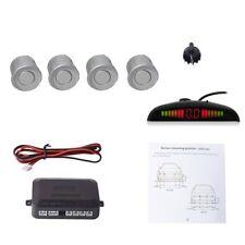Silver Car Auto Vehicle Reverse Backup Radar Detection System 4 Parking Sensors