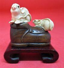 Japanese Boxwood & Resin Netsuke Two Rats On Boot