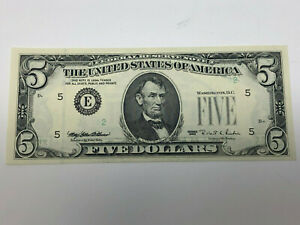$5 INSUFFICIENT INK 1995 NOTE Single Digit Serial  NO GREEN