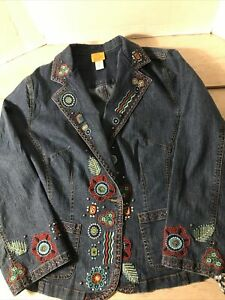 Ruby Rd Women 16W Embroidered Button Up Denim Jacket