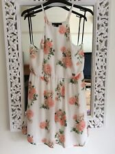 Forever21 Ivory and Peach Floral Dress, UK Size L 10-12 New