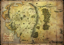 The Hobbit metallic card POSTER 'middle earth map' SIZE 47cm X 67cm