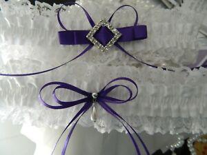 WEDDING GARTER SET WHITE  SATIN - DIAMANTE BUCKLE - PURPLE RIBBONS-FREE POUCH