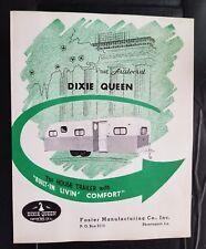 Vintage 1950's DIXIE QUEEN Travel Trailer , Foster Mfg. Shreveport La. Brochure