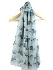 Femmes mignon bleu marine gris clair cheval poney imprimé large écharpe douce wrap cover up