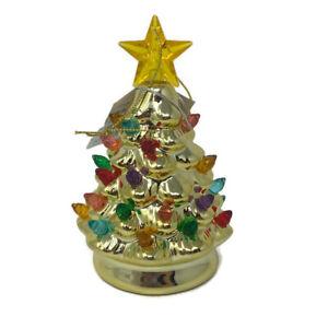 "🔴 Mr Christmas Mini Nostalgic Gold Christmas Tree 4.5"" Ornament Light Up"